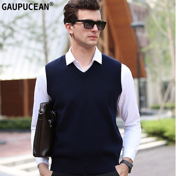 100% Pure Wool Men Sleeveless Sweater Knitting Navy Gren Red Knitwear Male Pullover V-Neck Casual Man Knitted Woolen Vest