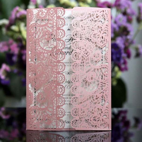 Laser Cut Wedding Invitations Set 6 Colors Lace Hollow Flower Design Blank Invites Cards for Elegant Birthday Party Supplies ,Customizable