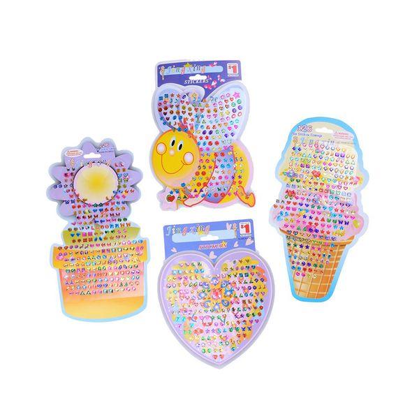 4pcs/set Cartoon Reward Crystal Stickers Toy Wonderful Children Stickers Earring