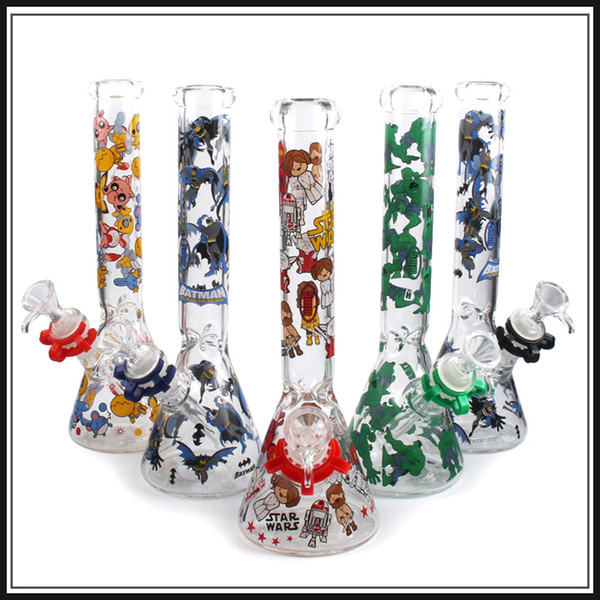 4 style glass bong water pipe beaker bong oil rigs 10 inchs water pipes glass bubbler