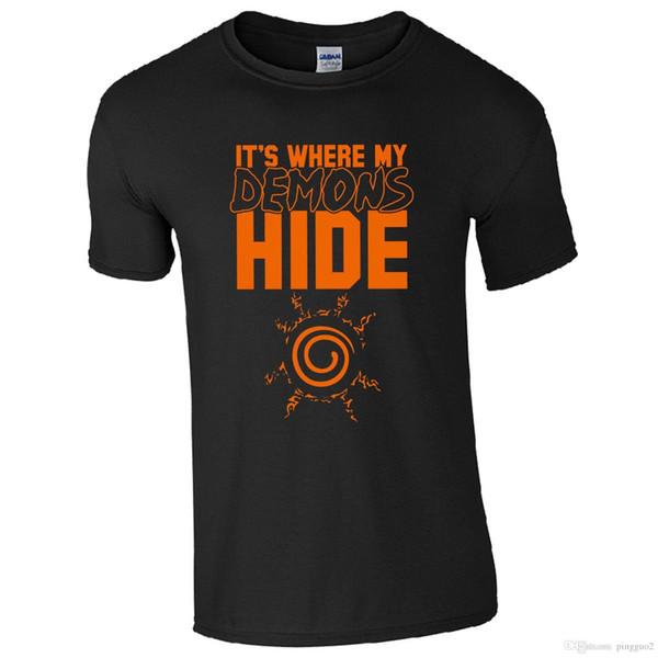 É Onde Meus Demônios Esconder T-Shirt-Naruto Fan Inspirado Anime Presente Mens Top Engraçado Roupas Casuais Camisetas de Manga Curta