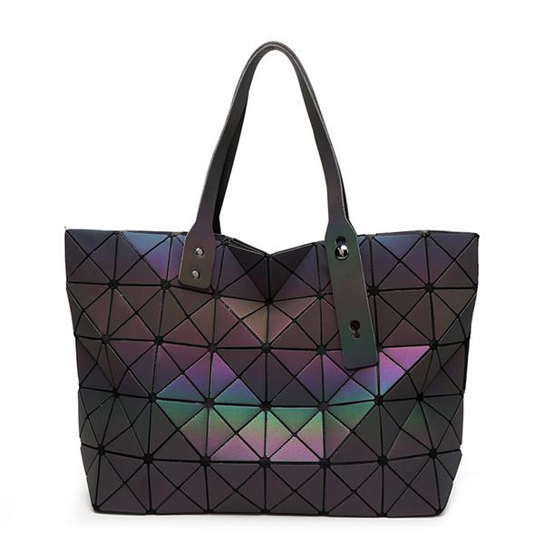 Mode Frauen Schwarze Tasche Geometrie Falten Bao Taschen Leuchtende Kanäle Handtaschen Lässig Tote Frauen Umhängetaschen Umhängetasche Bolsa sg39