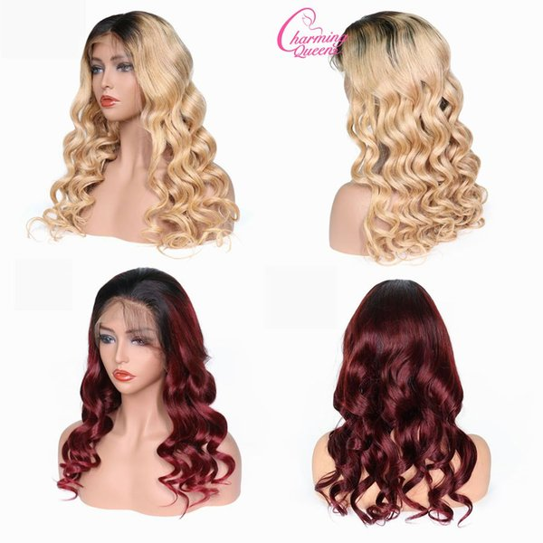 T1B/99j Lace Front Human Hair Wigs For Black Women Pre Plucked Wavy T1B/27 Remy Hair Ombre Lace Wigs With Baby Hair
