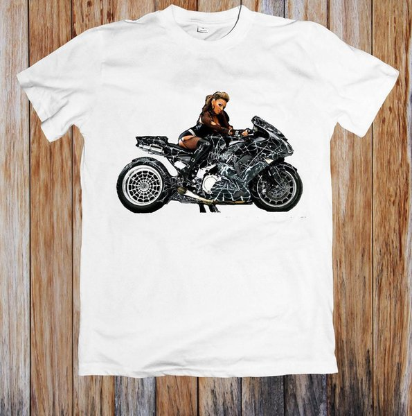GIRL ON SUPER MOTORBIKE UNISEX T-SHIRT