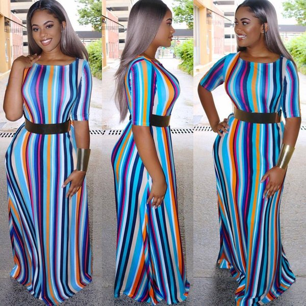 Fashion Stripe A line Long Maxi Dress Women Scoop Neck Half Sleeves Elegant Lady Dress with Sash Real Pictures 2018 Plusd size S--3XL