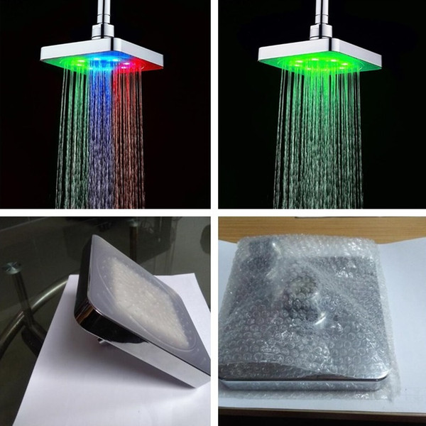 New E-commerce 6 inch LED top spray 7 colors sprinkler temperature control Discoloration small top spray shower head T7I192
