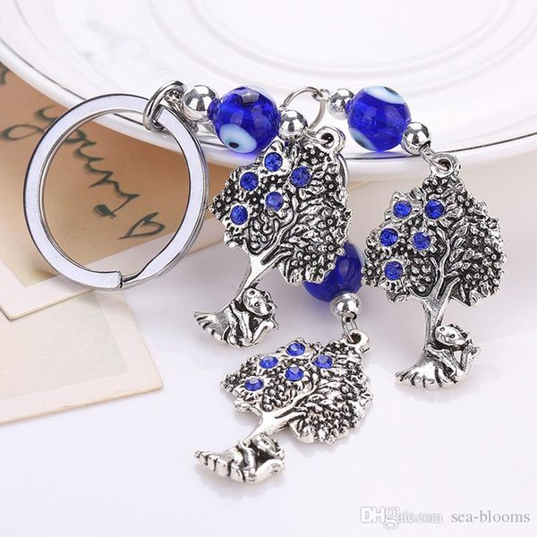 Free DHL Fashion Charm Rhinestone Keychain Blue Evil Eye Key Chains Owl Dolphin Tree Pendant Keyring Bag Car Key Holder Jewelry Gift D306SF