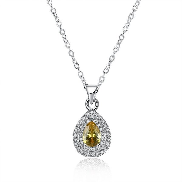 Sterling Silver 925 Necklace Lady Yellow Zircon Jewelry Pure Silver Water Drop Pendant Necklace Free Shipping n120