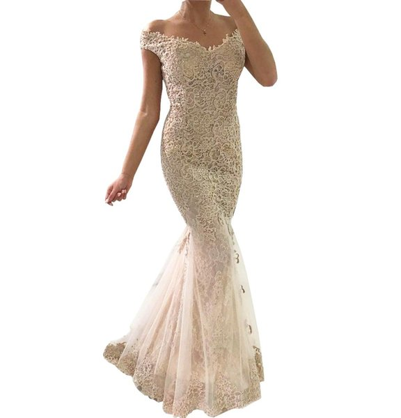 2018 Champagne Full Lace Off the Shoulder Prom Dresses Mermaid Short Sleeves Covered Button Back Dress Evening Wear Cheap party dress