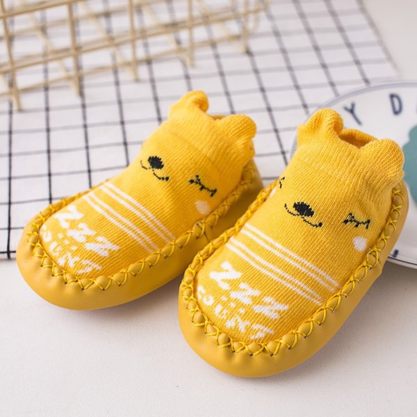 New Hot Cute Animals Shoe Socks For Baby Combed Cotton Anti Slip Boy Girl Indoor Socks Leather Sole Newborn Socks 0-24M Home Slippers