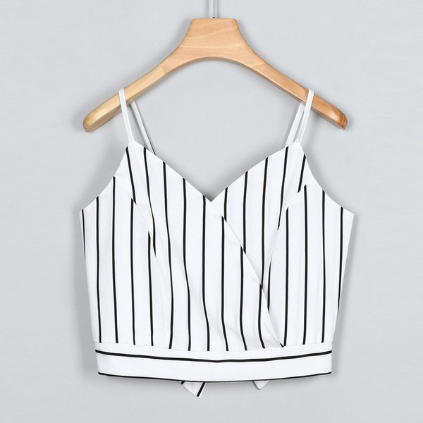 Summer Women's Casual V Neck off shoulder Stripe Seft Tie Back Crop Top Vest Crop Cami Tops Camisole Shirt Vest top #15