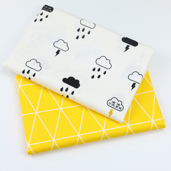 best selling Printed Clouds and Rain Kids Twill Cotton Fabric,Patchwork Cloth,DIY Sewing Quilting Fat Quarters Material For Baby&Child