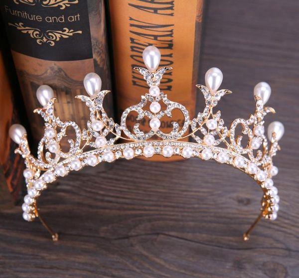 2018 new crystal pearl brides crown elegant elegant Korean crown crown hoop ornaments