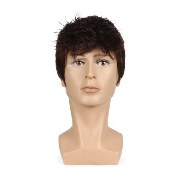 6 Inch Short Striaght Full Synthetic Wig for Men Male Hair Fleeciness Realistic Brown Mix Natural Full Wigs