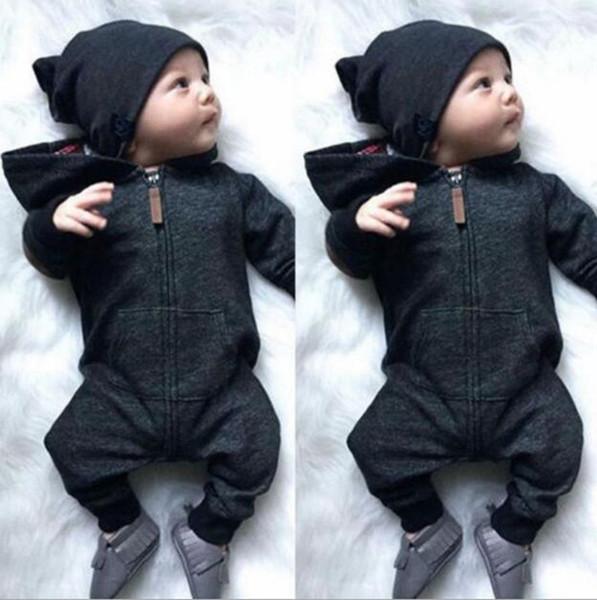 Ins Kinder Baumwolle Kleidung Baby Reißverschluss Mit Kapuze Strampler Kleinkind Mädchen Langarm Overalls Infant Jungen Designer Onesies Outdoor Chothes YL761
