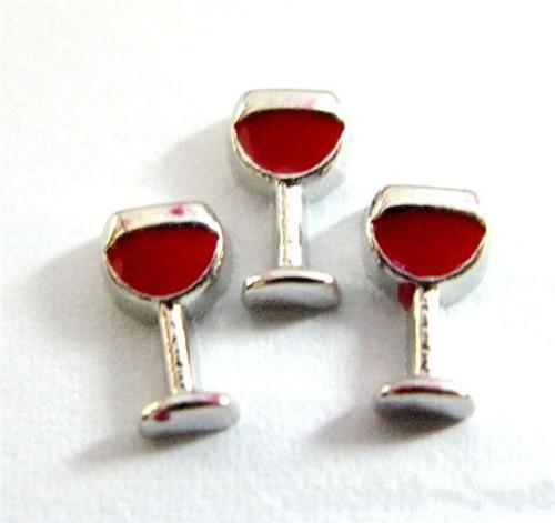 50 PCS Alliage Rouge Vin Verre Flottant Médaillon Charmes Fit Verre Médaillon Charmes DIY Bijoux Accessoires Pour Bijoux À La Main