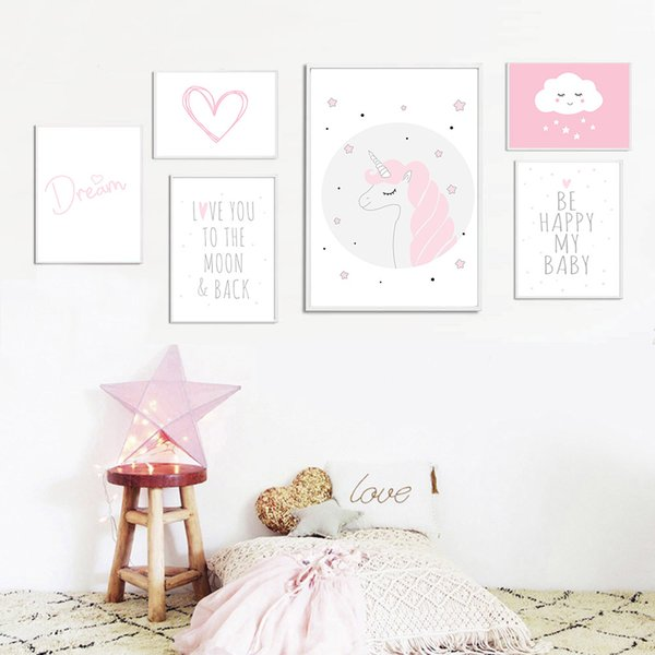 Kawaii Unicorn Nursery Wall Art Canvas Painting Cartoon Posters and Prints Nordic Kids Decoration Pictures Baby Bedroom Decor