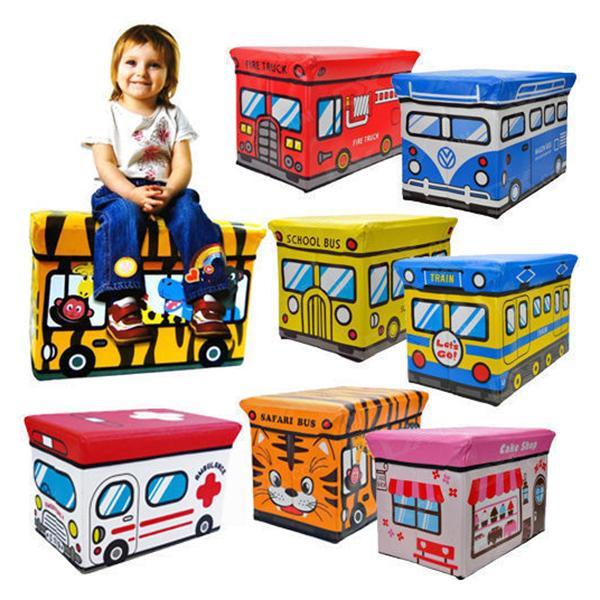 Multi-function folding storage box Car styling stool Kids storage box Cartoon toys car stool Non-woven