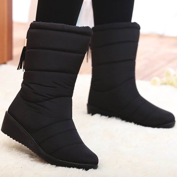 Snow boots women 2018 new arrival fringe mid-calf boots waterproof elastic-band non-slip short plush fashion winter