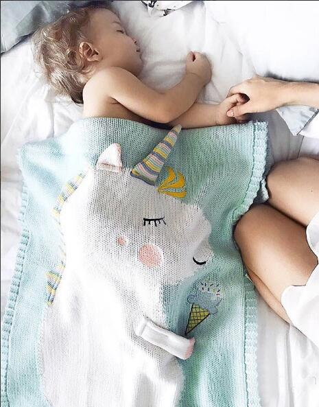 INS Baby Unicorn knitting swaddle Wrap Newborn cotton blankets Stroller Bedding Cover baby boys girls knitting quilt 105*75cm A00599
