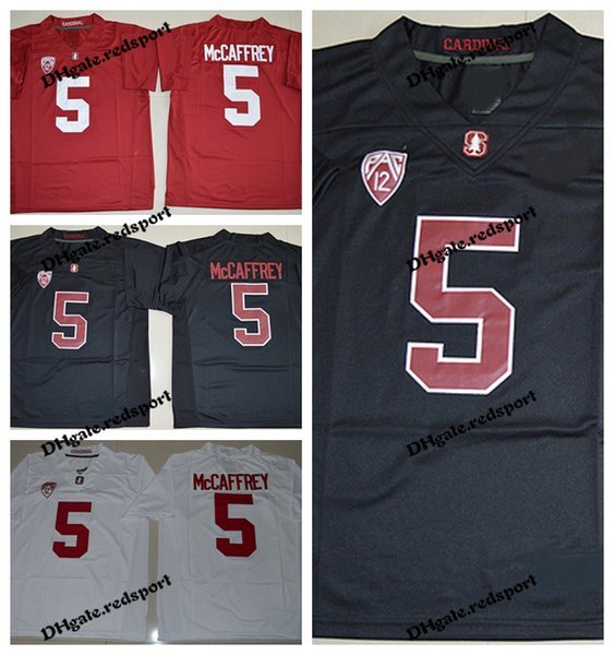 Mens Stanford Cardinals Christian McCaffrey College Football Jerseys Black Red 5 Christian McCaffrey University Stitched Football Shirts
