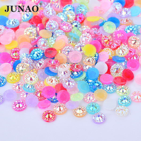 JUNAO 5000pcs 5mm Mix Color Flowers Rhinestones Glue On Nail Crystal Stone Flat Back Resin Gems Scrapbook Beads For Jewelry Making Crafts