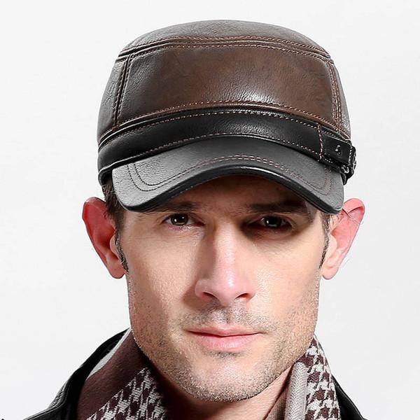 2c7fdec052710 Fibonacci marca de calidad para hombre gorra de béisbol de cuero patchwork  otoño invierno gorras ajustables flatcap mediana edad adultos sombreros papá