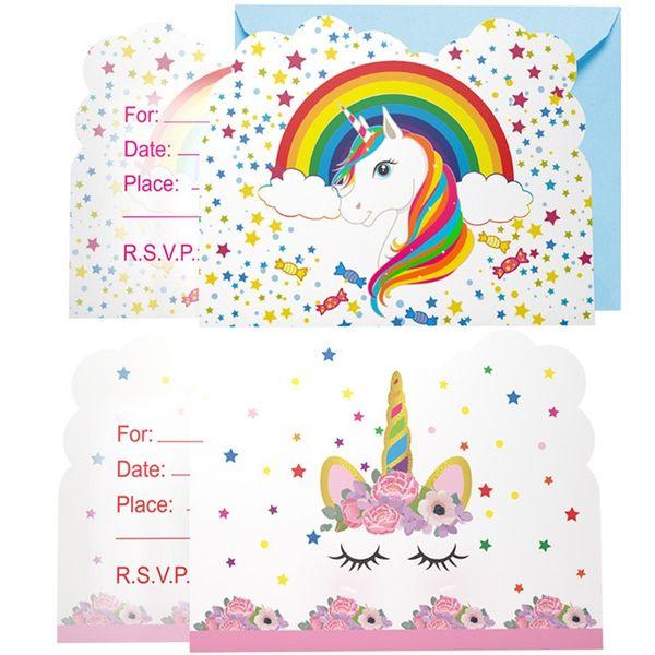 Kızlar Mutlu Doğum Günü Tebrik Kartı Çocuk Çocuklar Pembe Kağıt Karikatür Desen Unicorn Boys Parti Favor Davetiye 1 76kp bb