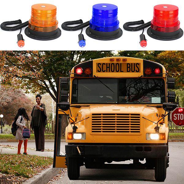 12 V LED Veicolo Spia lampeggiante Flash strobo LED Ambra Magnetico Segnale luminoso Emergenza Attenzione Strobe Giallo Tetto rotondo