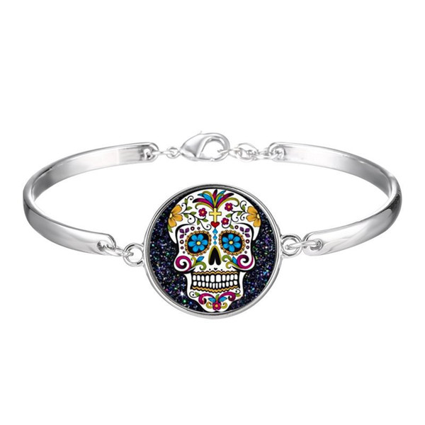 H:HYDE Skeleton Skull Bracelet Silver Color Fashion Jewelry Bracelet For Women Men Funny Gift Party NShipping High Quality