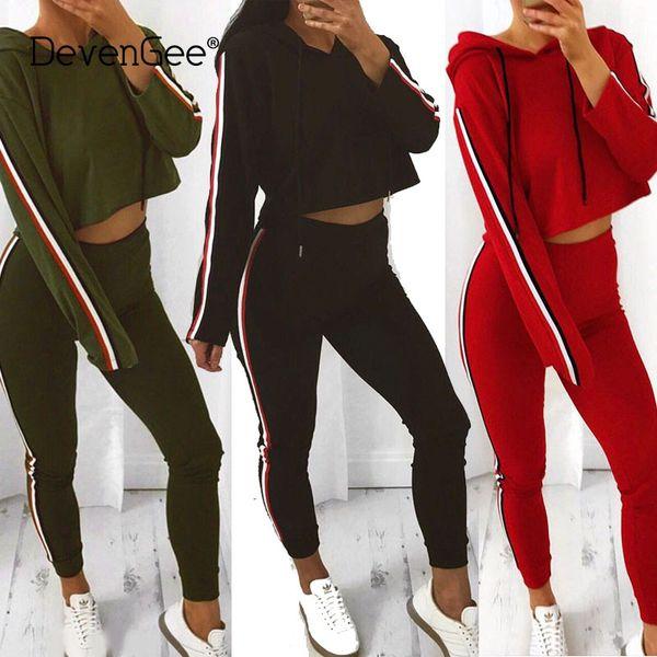 2018 Fashion Women Tracksuit Fitness Clothing Women Sweat Suit Two Piece Set Striped Crop Hoodies Top Pant Suit Sportswear