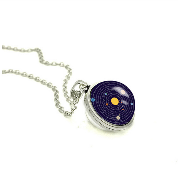 2018 New Solar System Double Sided Necklace Universe Pendant Silver Handmade Jewelry Glass Cabochon Pendants Necklaces