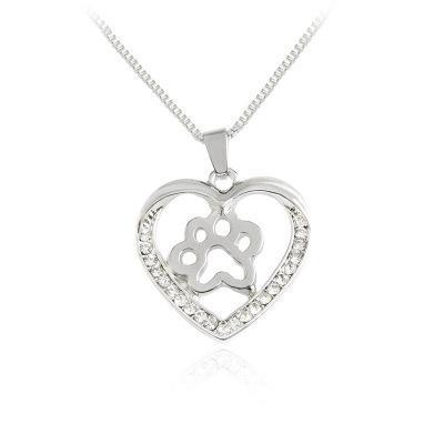 2018 Fashion silver plated Creative heart dog cat paw charm pendant necklace for women lady jewelry