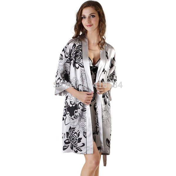 Daisy Print Womens Satin Kimono Robe & Nightgown Sleepwear Set Summer V-neck Camisole Lingerie Sets Womens Satin Sleepwear