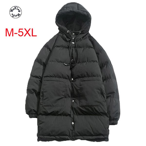 Woxingwosu men's cotton cotton-padded jacket mid long cotton-padded coat hooded big yards winter coat size M to 5XL