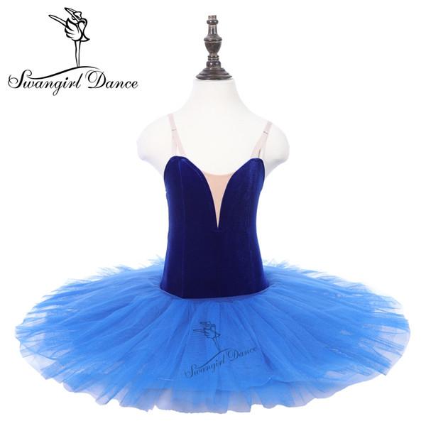 Samt Mieder Königsblau Performance Tutus Mädchen Frauen Pfannkuchen vorberufliche Bühnenshow Kostüme Kleid PPL18044D