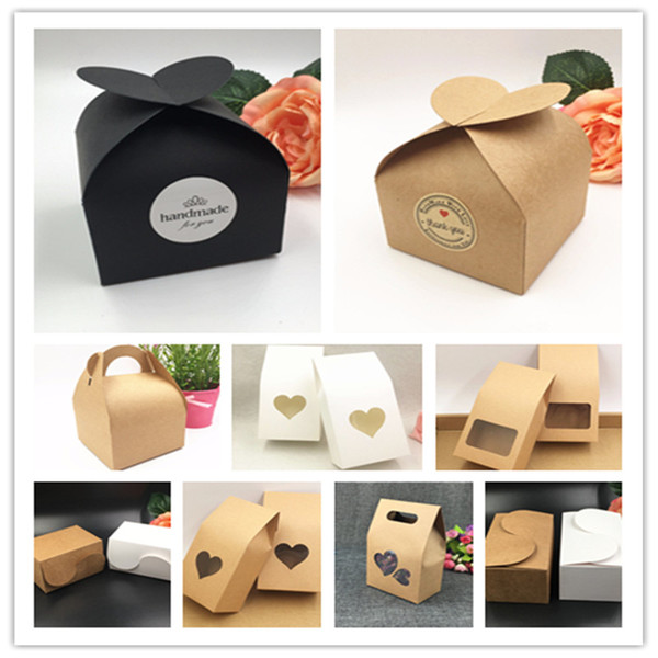 50pcs Kraft Paper Party/Wedding Gift Bags,Cake/Chocolates/Candy Packing Bags Stand Up Food Clear PVC window Seal boxes free shippiing