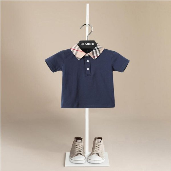 t-shirt écossais styles estivaux garçons enfants manches courtes t-shirt à carreaux col assorti tous les t-shirts bébé enfant cool occasionnel t-shirt confortable 4 couleurs