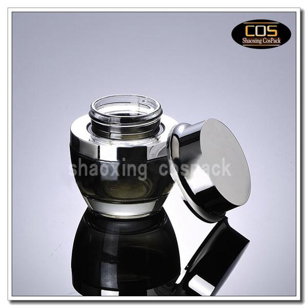 50pcs/lot 50g black glass cream jar with shiny silver aluminum lid, 50 gram cosmetic jar,packing for sample/eye cream,50g bottle