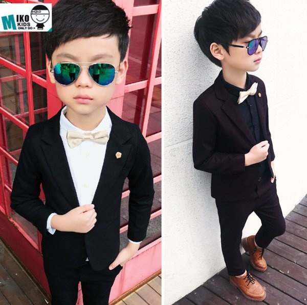 Boys flower brooch lapel long sleeve blazers outwear+double pocket elastic pants 2pcs sets boy clothes kids Performance outfits F0688