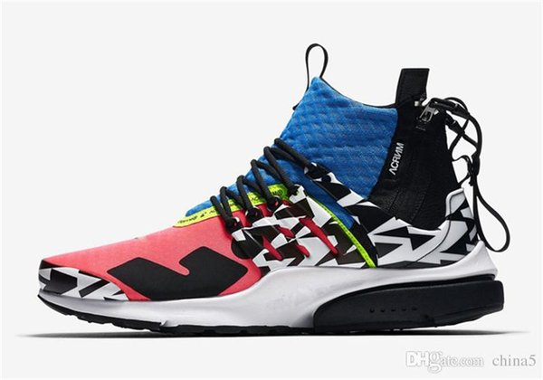 2018 Authentic Release Originals ACRONYM x Air Presto Mid RACER PINK Running Shoes For Men Women 2028Nike Sports Sneakers AH7832-600