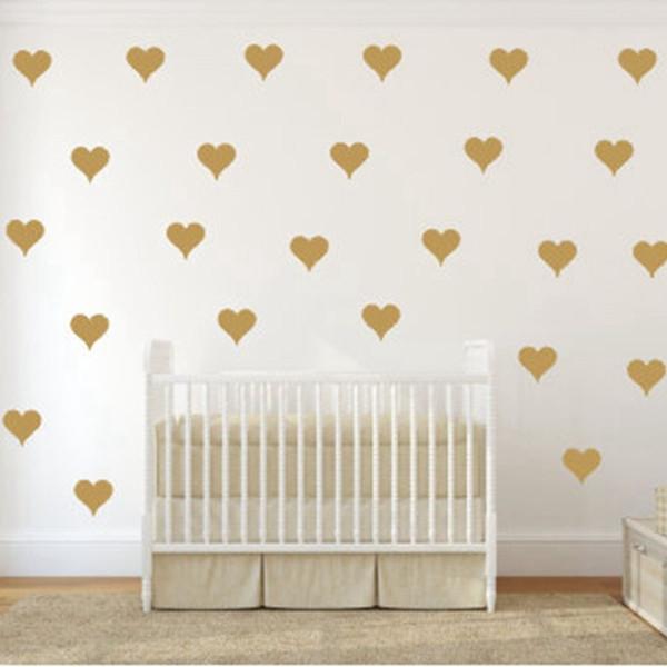 Free shipping Metallic Gold Wall Stickers Heart-shaped pattern vinyl wall decals nursery art decor Little Hearts Stickers