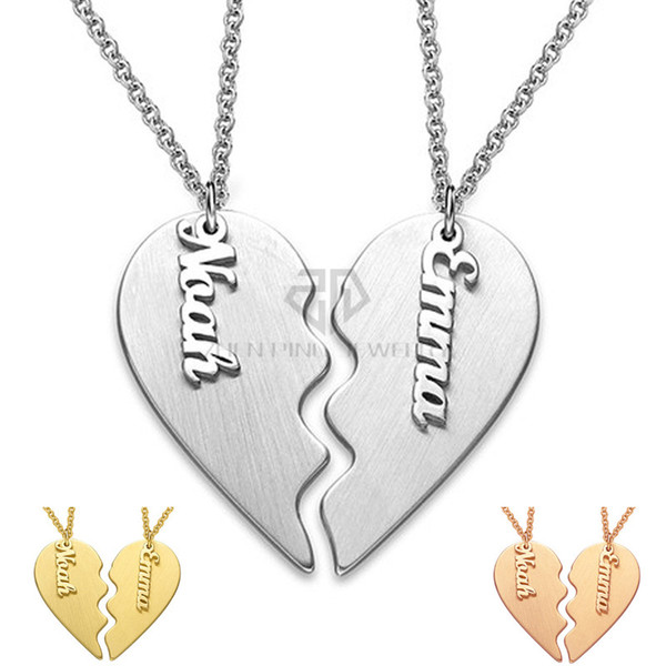 eaa2a4f8bd Valentine's Day Gift Personalized Classic Breakable Heart Custom Couple  Necklace Stainless Steel Two Half of a