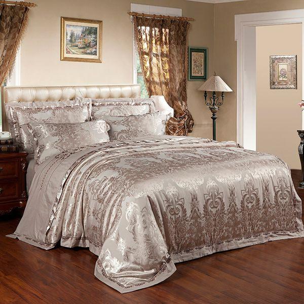 2018 Dark Golden Phoenix Flowers Bed in Bag Silk Cotton Blend Duvet Cover Set Jacquard Queen King Bedlinens Sheet Pillowcases