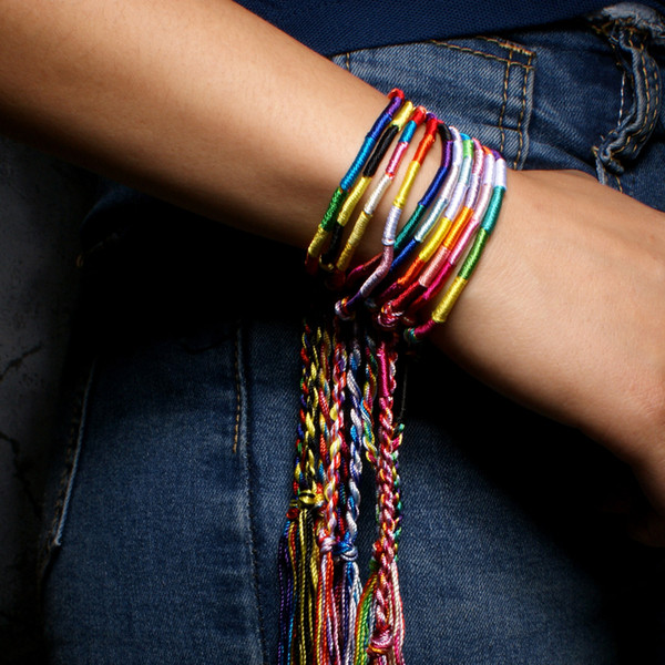 Charms Nepal National Wind Handmade Rainbow Bracelet Lucky Bangle Friendship Hand Rope 10Pcs/Package Gifts Support FBA Drop Shipping H676F