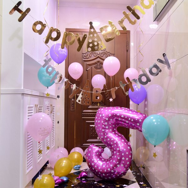 Digital Balloons Birthday Hundred Days Wedding Digital Decoration Balloons  Floating Air Ball Festival Celebration Balloons Birthday Party Things
