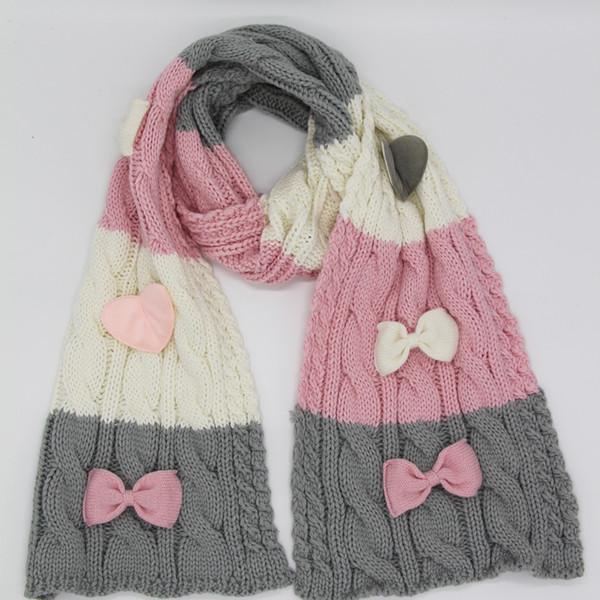 Russian stylish cable knitted winter autumn warm acrylic scarf hat gloves with bow knot 3 pcs set pink red 2 colors LL180388