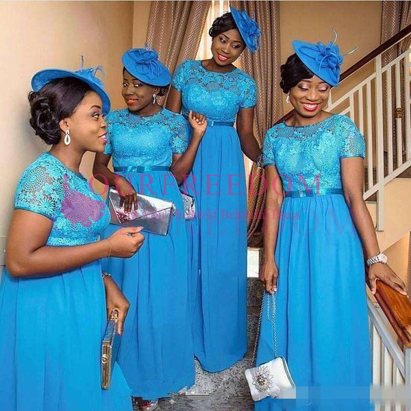 2019 Ocean Blue Chiffon Lace Bridesmaid Dresses For Black Girls Nigeria South African Weddings New Cap Sleeves Appliques Maid of Honor Gowns
