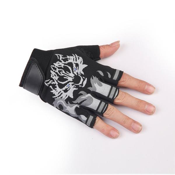 Unisex Men Women Cycling Anti Skid Half Finger Gloves Wolf Head European Style Breathable MTB Mountain Road Bike Bicycle Gloves