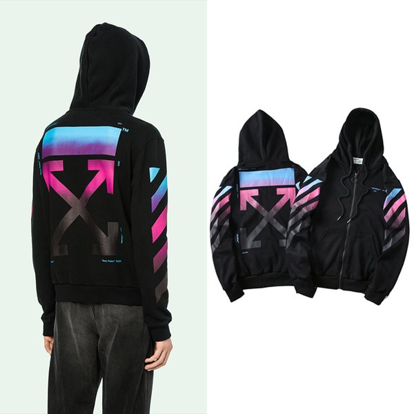 Autumn Winter New Hip Hop Streetwear printed OFF Brand Hoodies Cardigan Zip-up Sweater Cotton Hoody High Quality Male Sport Jacket Sweater